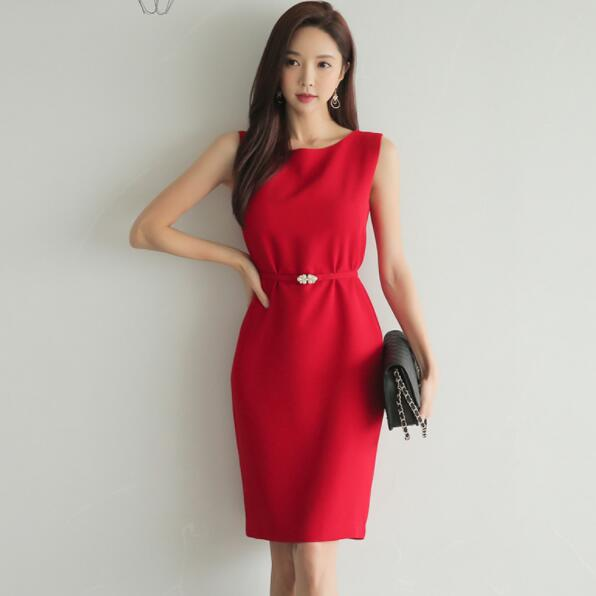 Pencil Dress Women Summer Red