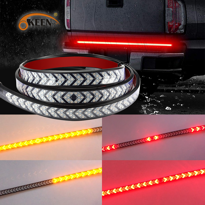 OKEEN 12V Flexible LED Strip DRL Running Light 39inch 100cm Red Yellow Car Truck Pickup Tailgate LED Turn Signal Running Strip