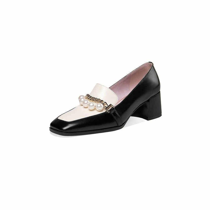 QUTAA/женские туфли-лодочки; Модель 2021 года; Модная повседневная женская обувь без шнуровки; Черные кожаные женские туфли-лодочки с квадратным носком на высоком квадратном каблуке; Размеры 34-39