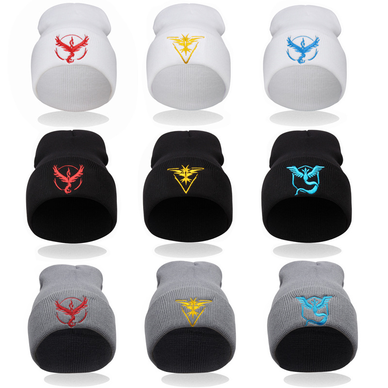 Pokemon Go Knitted Beanie Hat Team Sign Winter Embroidery Hats Cosplay image