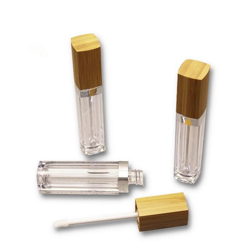 30 pièces 6ml vide Transparent brillant à lèvres Tubes en plastique baume à lèvres Tube rouge à lèvres Mini carré cosmétique conteneur avec bouchon en bambou