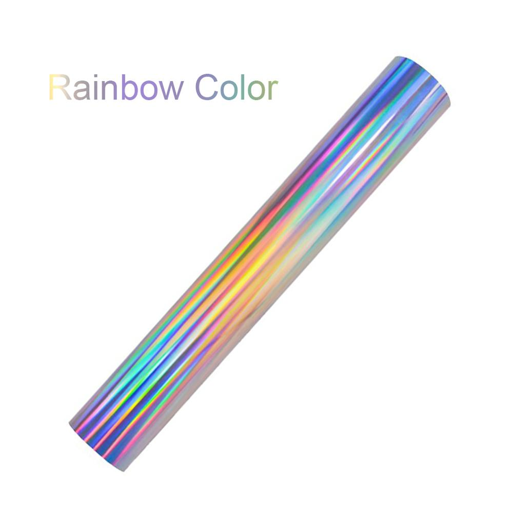 2Pcs A4 Laser Holographic Rainbow Silver Foil HTV Heat Transfer Vinyl For Tshirt Bag And Apparel Easy To Weed Iron On T-shirt