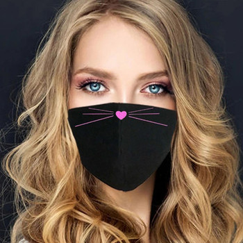 Women Cute Cat Face Print Antidust Windproof Face Mask Outdoor Cycling Sports Party Mask Breathable Reusable Mask mascarilla