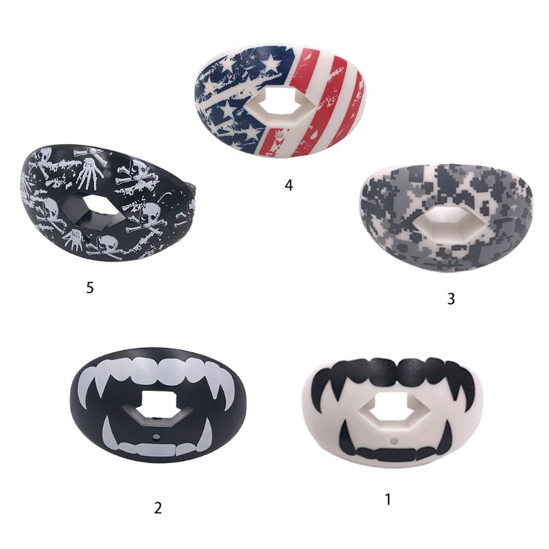 Football Rugby Sports Dental Mouth Guard Airflow Skull USA Flag Lip Protector