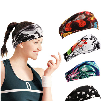 Bohemian floral print Yoga Hair Bands Sports Turban Women's Headbands Quick Dry New Fashion Wide Elastic Running Headwear 1