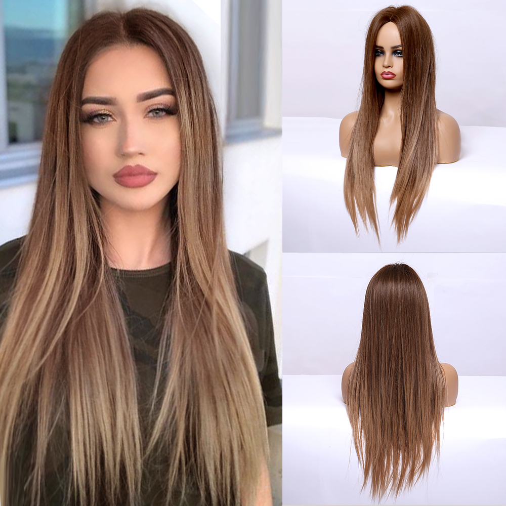 Permalink to -49%OFF Long Straight Brown Ombre Natural Hair Wigs Middle Part Heat Resistant Synthetic Wigs for Afro Women Daily Cosplay Fashion Wigs