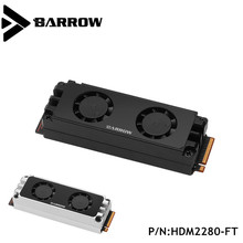 Barrow 2280/22110PCIE SATA M2 SSD Wasser Block Doppelseitige Hilfs Kühlung festplatte dual fan kühler HDM2280-FT