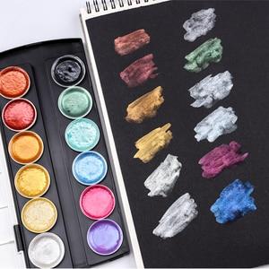 Image 5 - 12 색 메탈릭 수채화 세트 아티스트 페인팅 용 워터 브러시로 골드 안료 페인트 반짝이 수채화 아트 용품