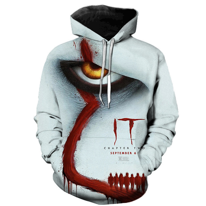 IT Chapter Two 3D Printed Hoodie Sweatshirts IT Clown Thriller Movie Pullover Men Women Hip Hop Fashion Casual Oversized Hoodies