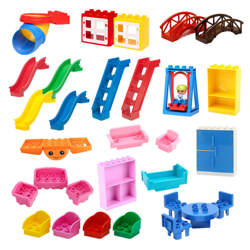 Large Building Blocks Parts Sofa Table Chair Bed Slide Ladder Swing Dolls Baseplate Compatible Bricks