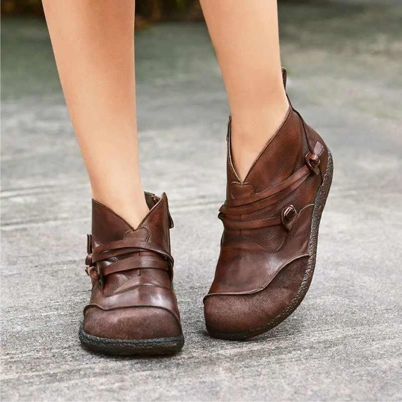 Puimentiua yarım çizmeler kadın Retro yumuşak PU deri daireler ayakkabı rahat toka fermuar yuvarlak ayak kısa çizmeler mujer zapatos 2019