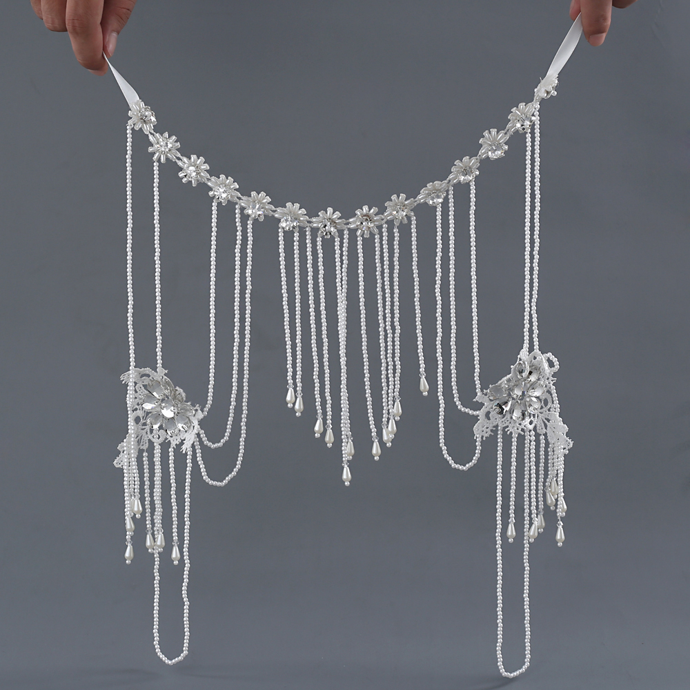 TRiXY G03 Elegant Pearls Wedding Bolero Beading Applique Flora Wedding Wrap Jacket for Evening Prom Fashion Women Accessories