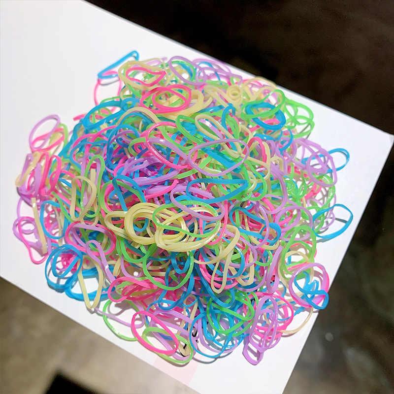 1000 قطعة/الحزمة الفتيات الملونة الصغيرة الأربطة المطاطية المتاح اللثة ل ذيل حصان حامل العصابات الشعر مطاطا موضة إكسسوارات الشعر