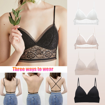 Women Sexy Lace Backless Triangle Cup Bra Invisible Strapless Bralette Elastic Bustier Crop Top Seamless Low Back Underwear