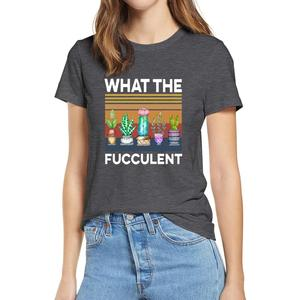 Go-to 100% cotton 2020 fashion summer t shirts Retro Succulent What The Fucculent T shirt Women White T shirt soft tee XS - 3XL