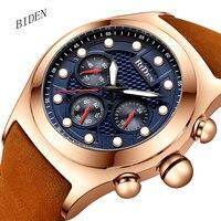 Fashion Sports Chronograph Watch Men Quartz Clock 3 Dials 6 Hands Leather Strap Multifunction Mens Watches Male Top Brand Luxur
