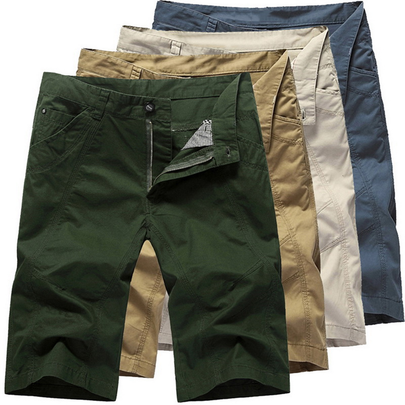 LAAMEI Summer Military Zipper Cargo Shorts Brand Mens Casual Shorts Solid Baggy Shorts Mens Tactical Short Pocket  Plus Size