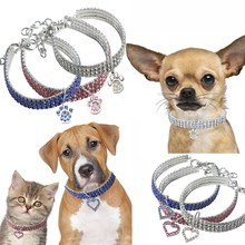 Shiny Rhinestone Dog Collar Elastic Bling Neck Ornament Collars With Love Heart Pendant For Small Medium Puppy Chihuahua