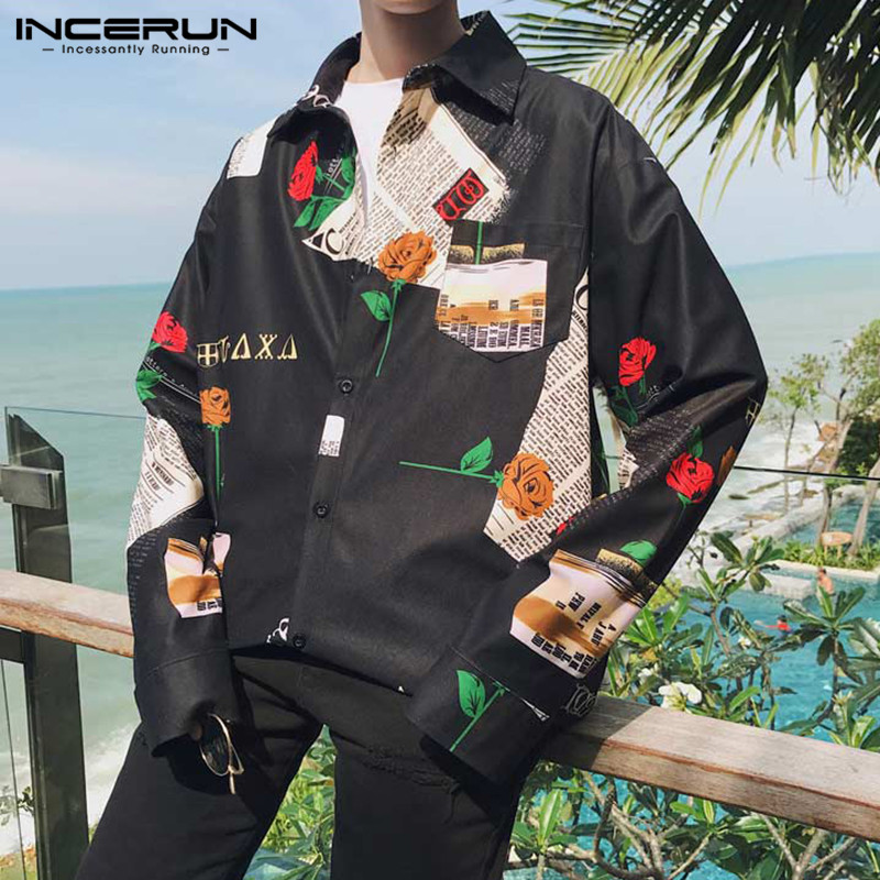 Fashion Men Personality Print Long Sleeve Lapel Shirt Street Casual Trend Korean Style Harajuku Baggy Button Mens Blouse INCERUN