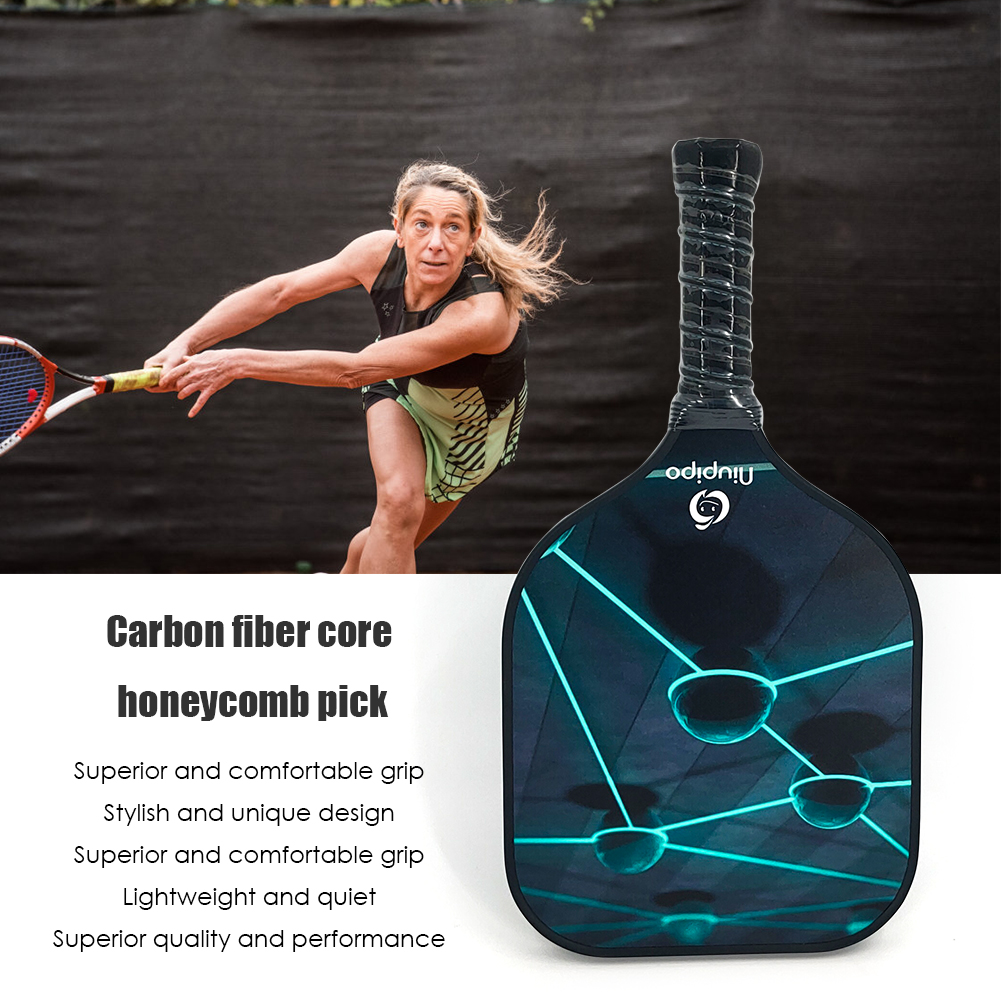 Carbon Fiber Pickleball Paddle Honeycomb Core Lightweight Tennis Racket Lightweight Powerful Ping Pong Paddle Bat