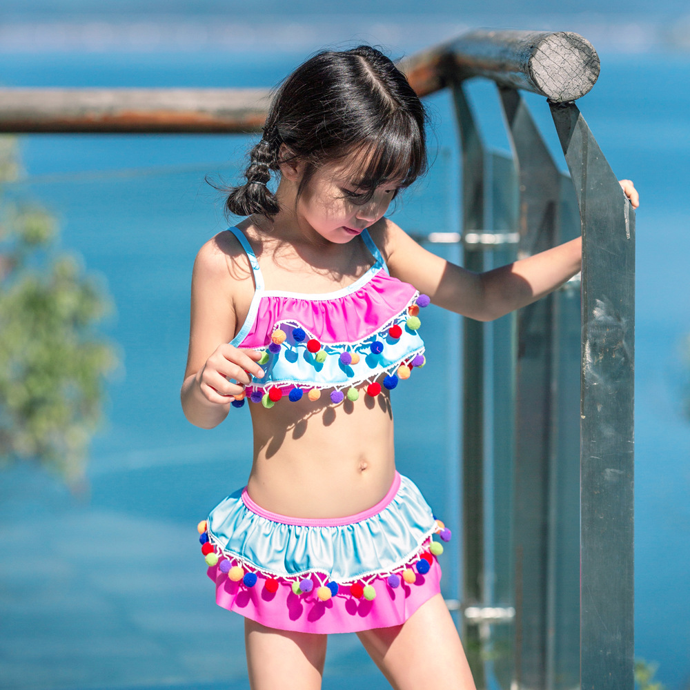2019 Hot Selling Combination KID'S Swimwear Big Boy Cake Dress Split Type Baby Girls Cute Europe And America Hot Springs Bathing