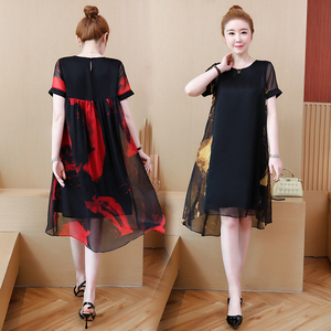 Image 4 - L 5XL Office Lady Party Loose o neck short Sleeve Plus Size Summer Yellow Red Black Elegant Woman Cocktail Dresses