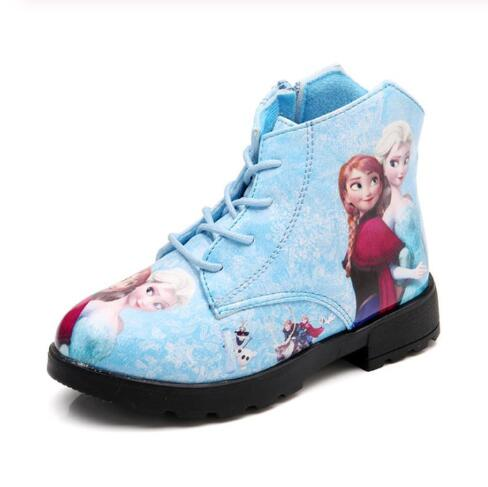 Winter Girl Shoes Elsa Princess Short Boots Baby Cartoon Children Snow Queen Leather Martin Boots Child Shoes