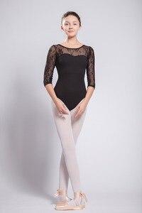 Image 4 - Kadın bale Leotard yüksek kaliteli orta kollu dantel bale dans kostüm yetişkin bale tulum jimnastik dans mayoları