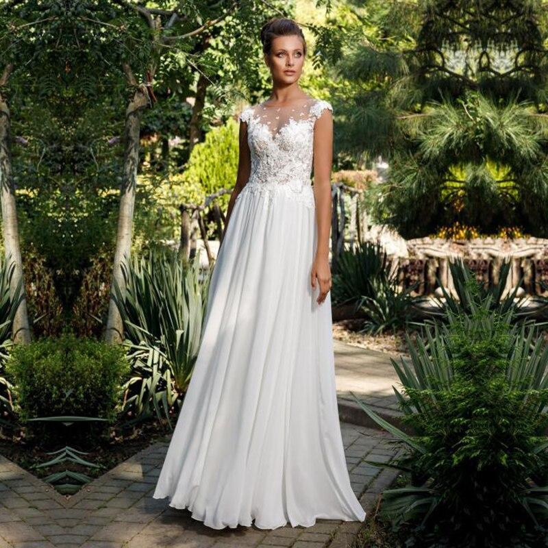 Eightale Princes Wedding Dresses O-Neck Cap Sleeves Buttons Appliques Lace A-Line Boho Wedding Gowns Chiffon Beach Bridal Dress