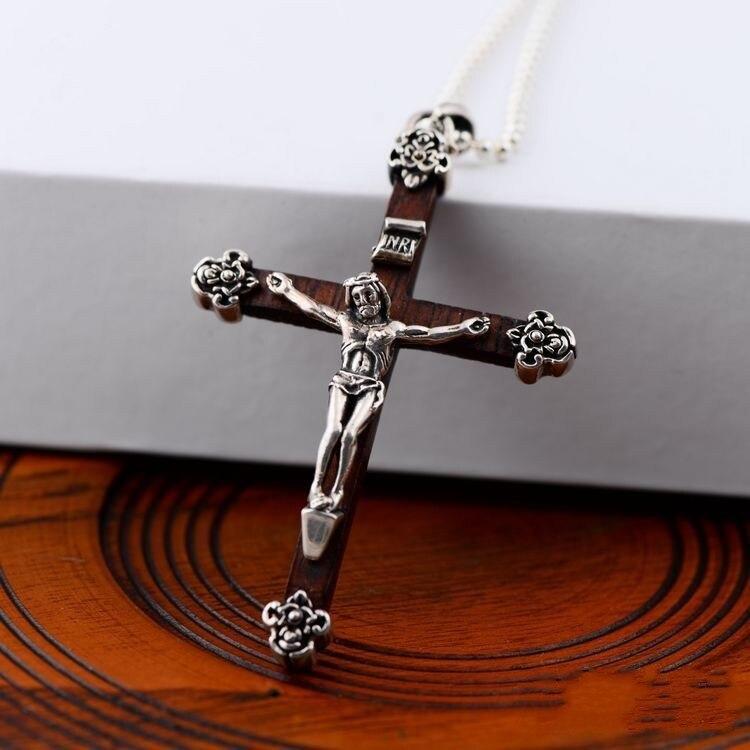 Noir 925 argent sterling vente en gros jésus croix pendentif