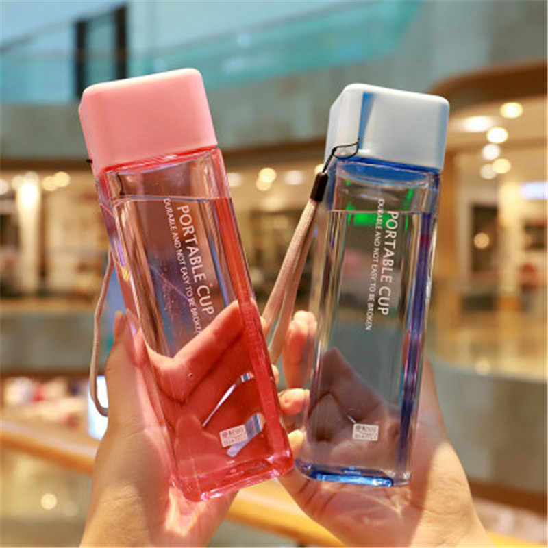 New Square Frosted Plastic Water Bottle Portable Transparent Bottle Fruit Juice Leak-proof Outdoor Sport Travel Camping Bottle