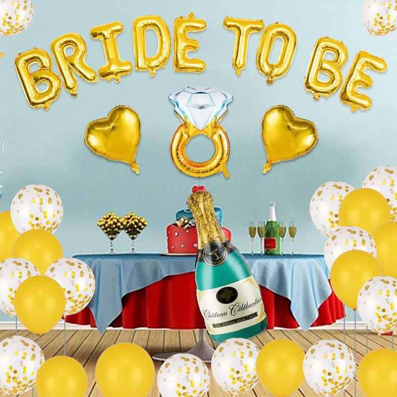 Bachelor Party Decoration Set Bride To Be Gold Letter Foil Balloons Champagne Diamond Ring Ballon Wedding Bridal Shower Supplies