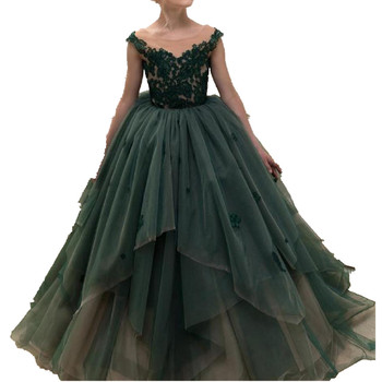 Luxury Green Flower Girls Dresses For Weddings 2019 New Girl Princess Pageant Ball Gowns Modis Kids Clothes Dress Vestidos Y1997