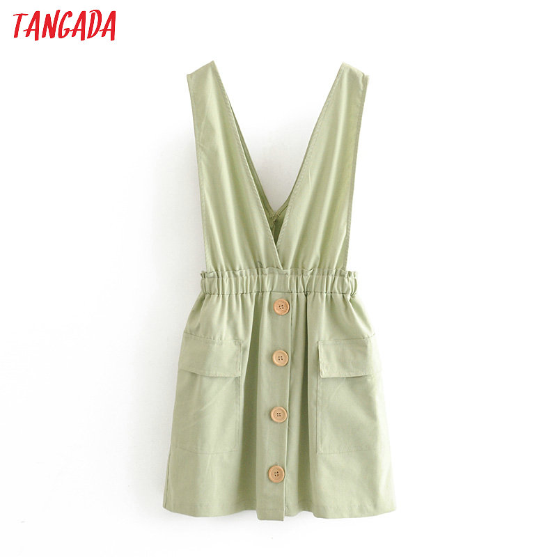Tangada Fashion Women Solid Green Summer Mini Dress Backless Sleeveless Strethy Waist Ladies Short Dress Vestidos 3H347