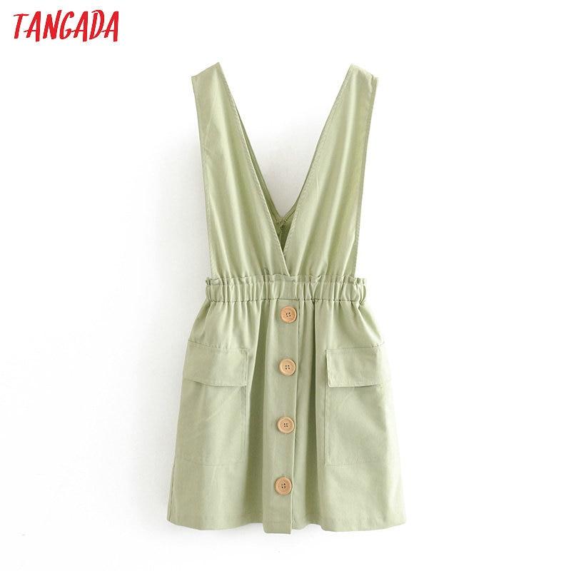 Tangada Fashion Women Solid Green Summer Mini Dress Backless Sleeveless Strethy Waist Ladies Short Dress Vestidos 3H347