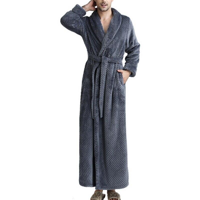 MJARTORIA 2019 New Autumn Winter Robe Soft Absorbent Lightweight Long Kimono Flannel Spa Bathrobe For Men Solid Long Sleeve