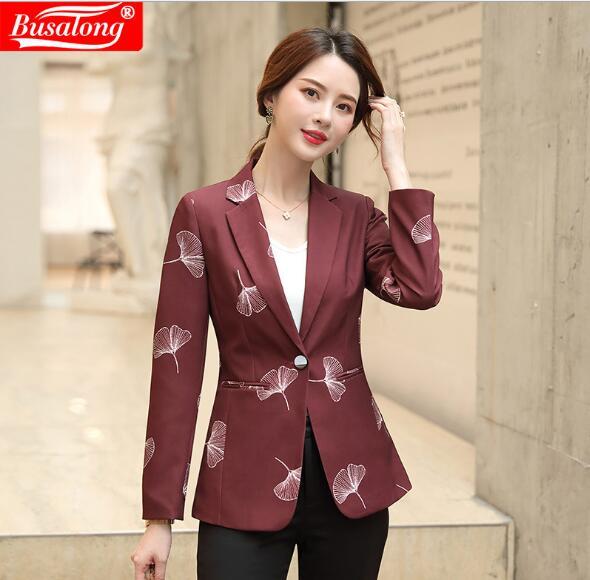 2019 Autumn Coats Formal Interview Jacket Women's  Plus Size Blazer Flower Suits Lady Suit Office Winter Wool Blazer Black Red