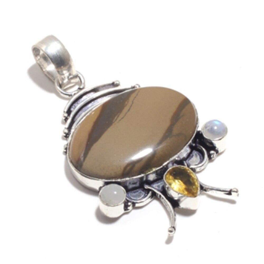 Véritable Mookaite Jasper + Citrine + pierre de lune pendentif en argent sur cuivre, cadeau de bijoux pour femmes fait à la main, P9028