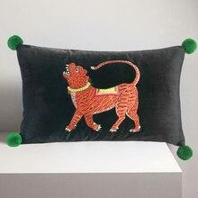 Funda de cojín de dónxdeco funda de almohada decorativa Vintage terciopelo colección de animales bordado de tigre sofá silla ropa de cama Coussin