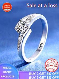 Женские кольца с бриллиантами YANHUI, элегантные вечерние Обручальные кольца из серебра 925 пробы с сертификатом 0,75 карат, R036