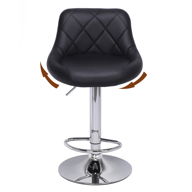 2pcs Adjustable  Bar Chairs High Type with Disk No Armrest Rhombus Backrest Design Bar Stools  Two Colors to Choose 3