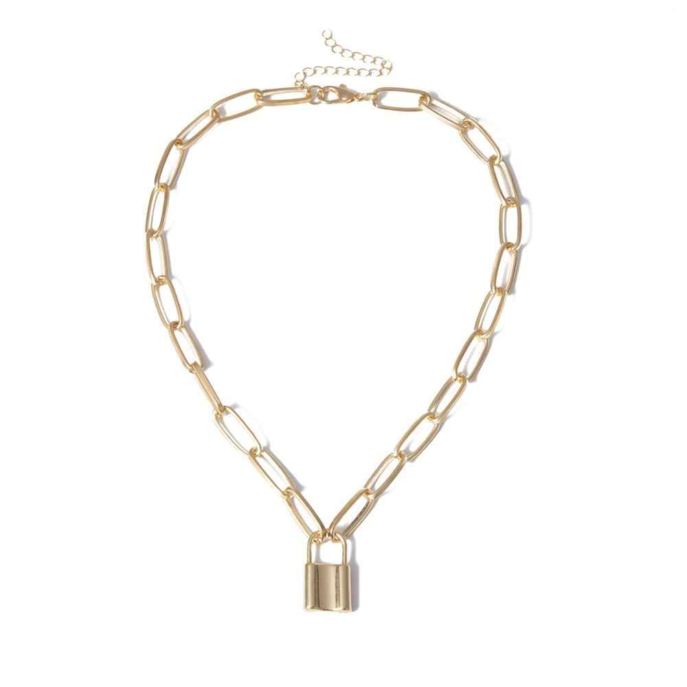 New Hip Hop Semplice strati della collana della catena con serratura delle donne/uomini punk rock lucchetto pendente della collana Dell'annata emo grunge goth monili