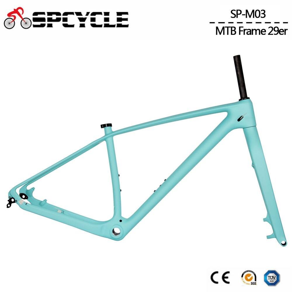 Spcycle 27.5er 29er T1000 Full Carbon MTB Bicycle Frameset 29er Mountain Bike Carbon Frame And Rigid Forks Thru Axle BSA 73mm