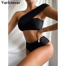 Bikini asimétrico de un hombro para mujer, traje de baño femenino de cintura alta, conjunto de Bikini de dos piezas, bañador V2635