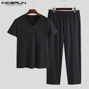 INCERUN New 2020 Spring Mens Pajamas Long Sleeve Male Nightclothes Set Male Solid Color Cotton Pajamas Men Sleepwear Suits 5XL(China)