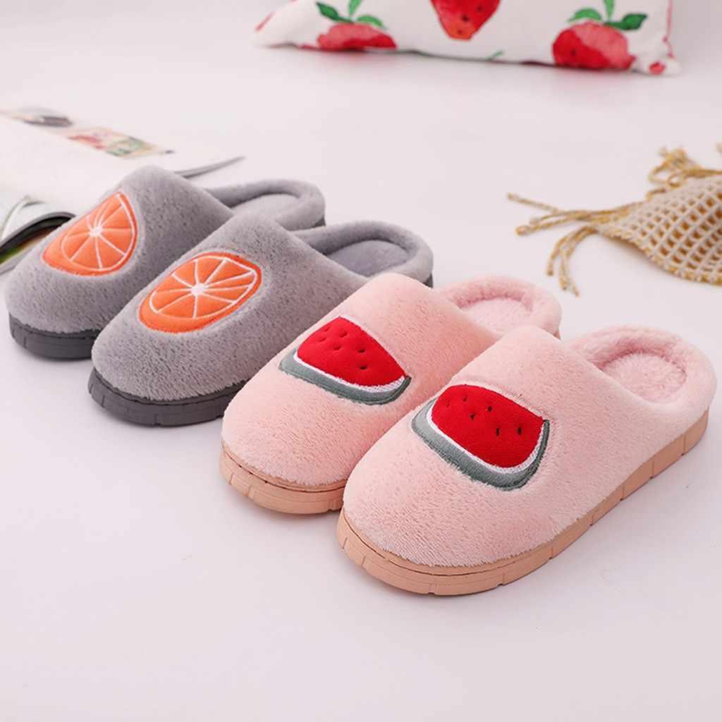Le coppie di Frutta Flock Warm antiscivolo calzini del Pavimento di Casa Pantofole Coperta Scarpe Più Il Formato Slip On Pistoni Dell'interno Delle Donne zapatos de mujer