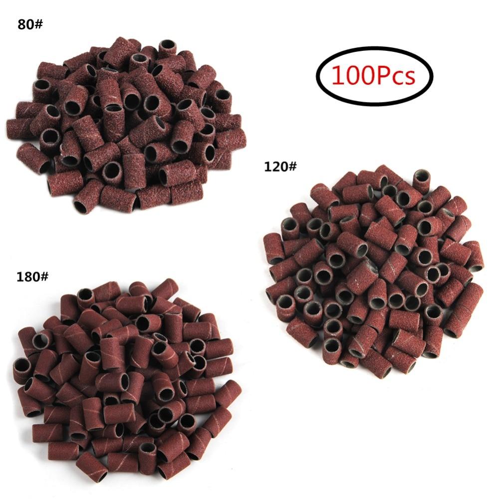 100Pcs Drum Sanding Kit 80# 120# 180# Nail Drill Bits Abrasive Tools Dremel Accessories Sandpaper Shank Rotary Tools