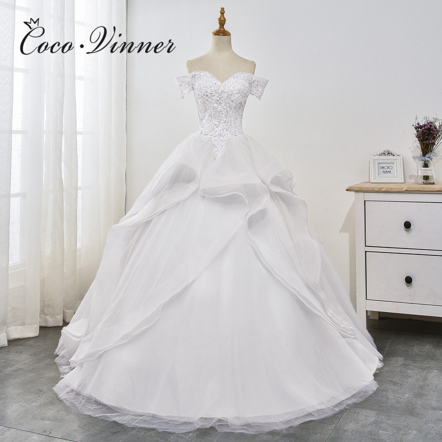 Cap Sleeves Ball Gown Wedding Dress 2019 New Design Lace Appliques Organza Ball Gown Wedding Dresses Bride Gowns China  WX0030