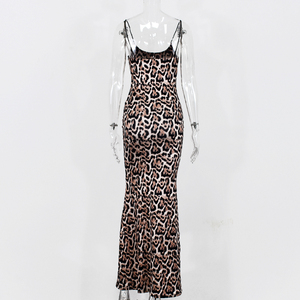 Image 5 - NewAsia גן ארוך קיץ שמלת נמר נשים בציר בעלי החיים הדפסת המפלגה מקסי שמלת חוף שמלה אלגנטית מקרית 2020