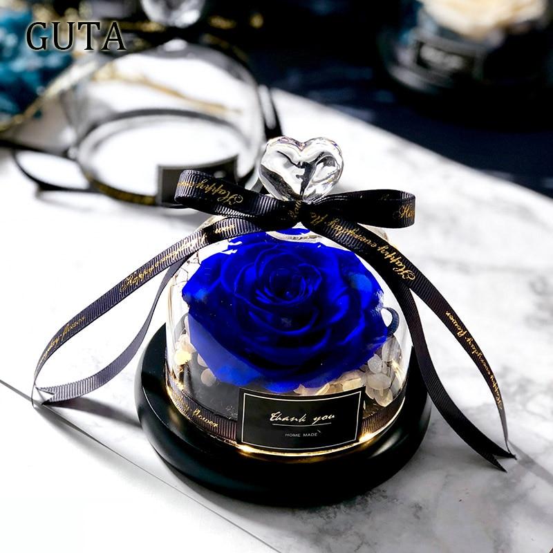 Вечная эксклюзивная Роза в стеклянном куполе Красавица и Чудовище Роза романтические подарки на день Святого Валентина подарок на Рождество подарки на праздник - Цвет: G01-D